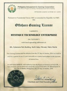 Pagcor Certificate Mystique Bet